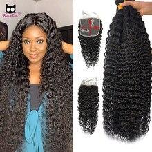 32 34 36 polegada pacotes de onda profunda com fecho cabelo humano brasileiro pacotes com fechamento 6x6 fechamento do laço rucycat remy cabelo