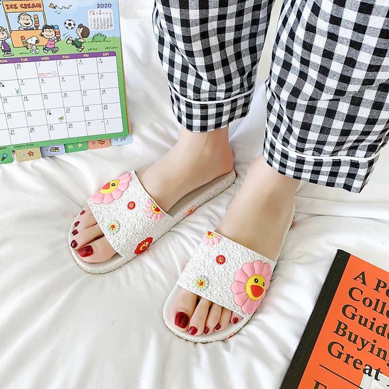 漫画かわいい村上ひまわり女性の家のスリッパ夏のサンダルの女性スライド屋内家の靴フリップsandaliasフロップmuje