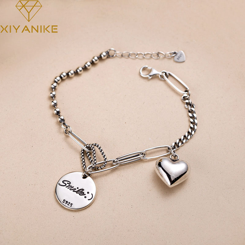 XIYANIKE 925 Sterling Silver Couple Bracelet English Letter Tag LOVE Heart Pendant Thai Silver Hand Jewelry For Women Party Gift