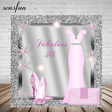 Sensfun 레이디 여성 멋진 50 생일 파티 배경 핑크 드레스 반짝이 발 뒤꿈치 실버 다이아몬드 프레임 사진 배경