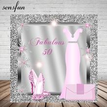 Sensfun Lady Women Fabulous 50 Birthday Party Backdrop Pink Dress Glitter Heels Silver Diamonds Frame Photography Backgrounds
