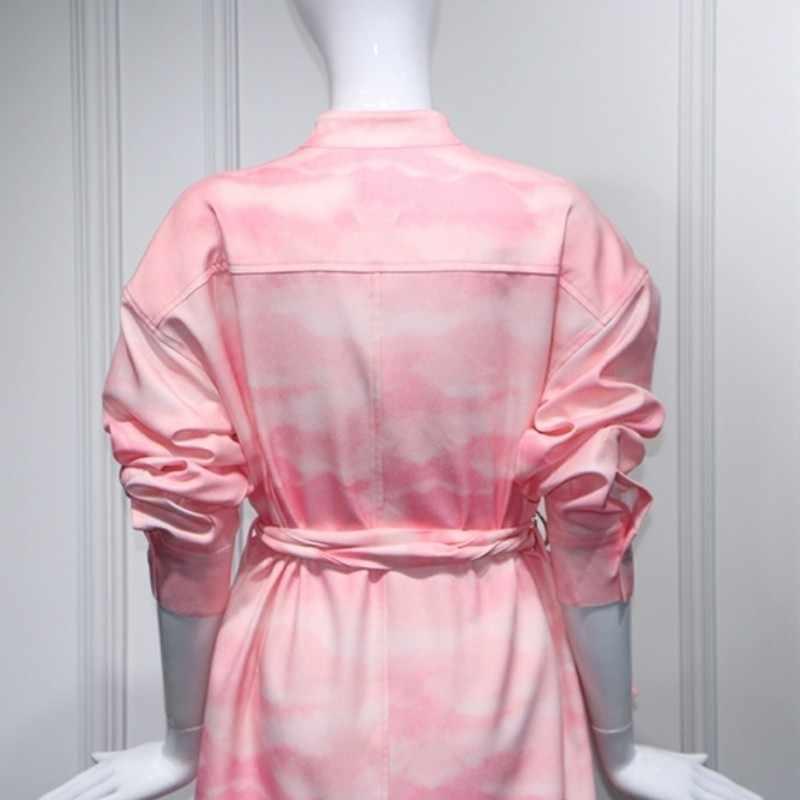 Alta qualidade runway designer split rosa vestido feminino 2020 primavera verão floral impresso midi vestido longo cinto solto roupas da moda