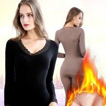 Women Winter Seamless Elastic Thermal Inner Wear Set Bamboo Fiber Warm Underwear Long Johns