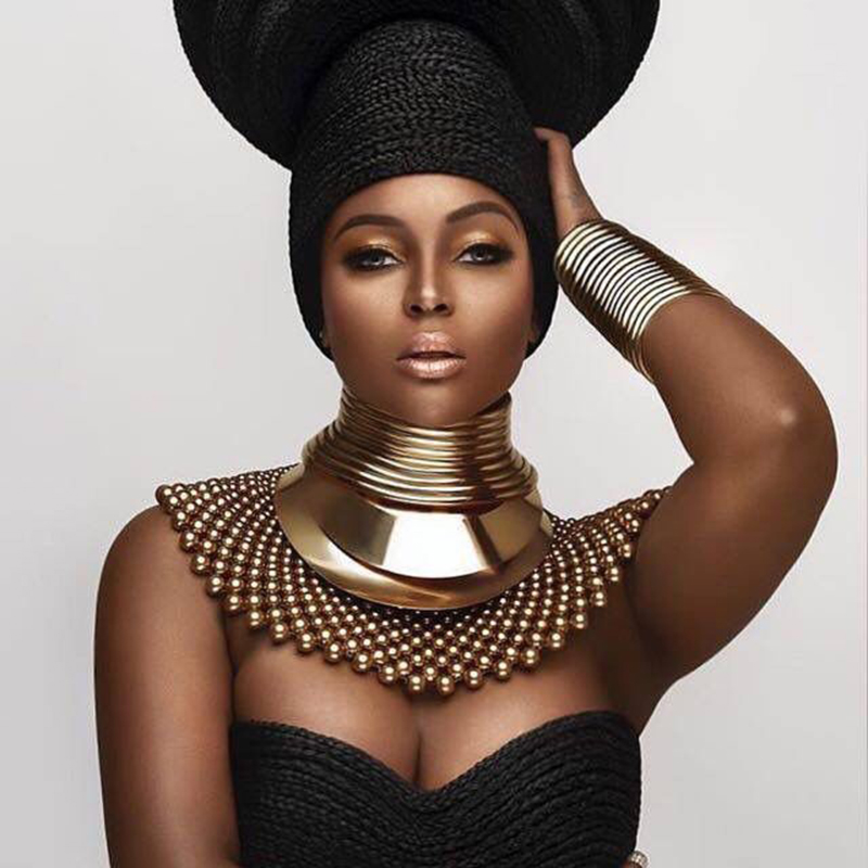 African Bib Torques Chokers Necklaces For Women Statement Metal Geometric Collar Necklace Indian Jewelry Boho Design UKMOC