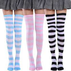 2021 New Fashion Striped Knee Socks Sexy Soft Cotton Warm Medias Ladies Long Stockings Women Thigh High Over The Knee Stockings