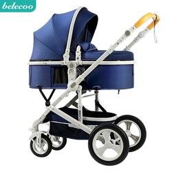 Beleeco carrinho de bebê 2 em 1 carrinho de criança mentira ou amortecimento dobrável de pouco peso em dois sentidos do bebê quatro estações rússia frete grátis