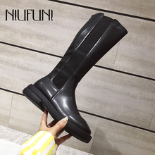 NIUFUNI Spring Autumn Mid-Calf Solid Color Round Toe Low Heel Women's Boots Slip On Zipper Boots Slim Women's Shoes Martin Boots все цены