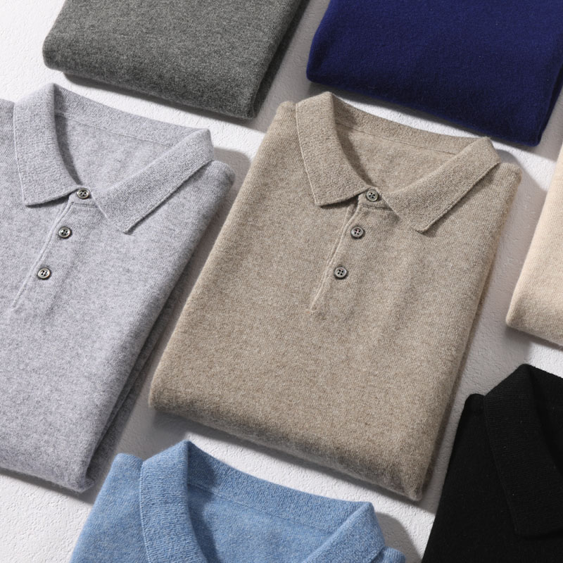 Soft Sweaters 100% Cashmere Knitted Polo-Neck 7Colors