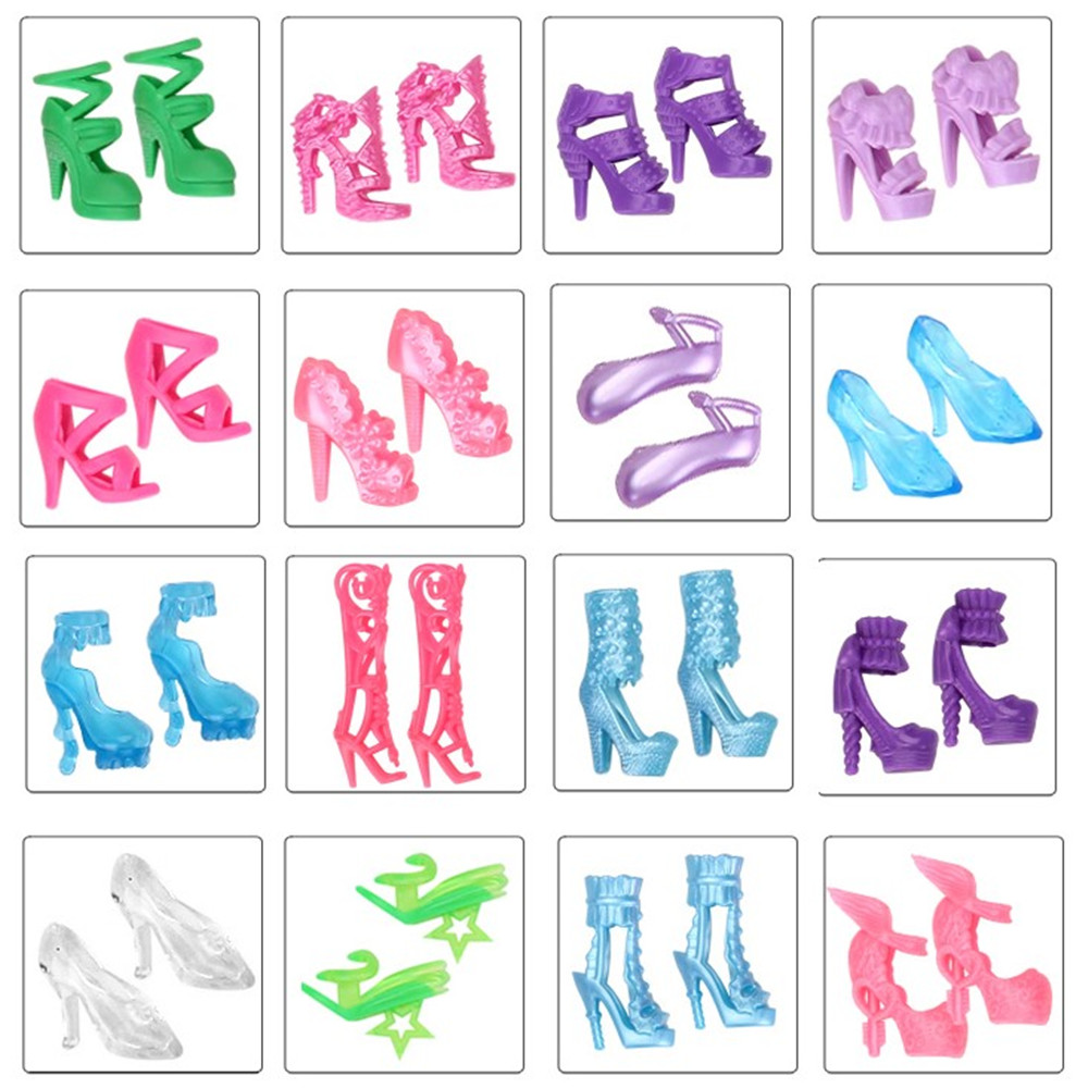 15 Pairs/set Doll Shoes Mix Style High Heels Sandals Boots Colorful Assorted Shoes Accessories For Barbie Doll Baby Xmas DIY Toy