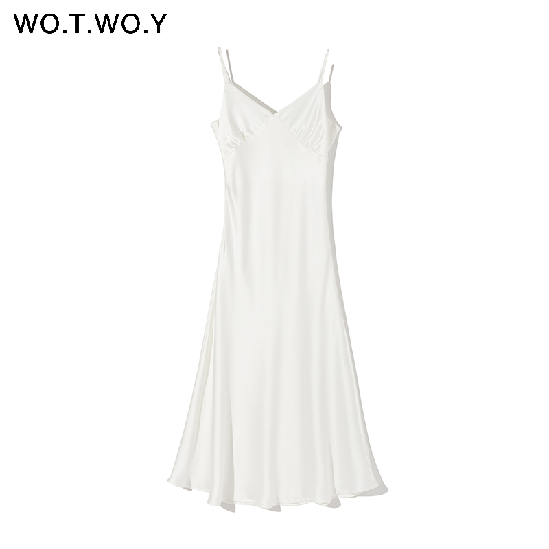 H4110db21c8554f97af4768213766186ex - WOTWOY Sexy V-neck Sleeveless Dresses Women Spaghetti Strap Mid-Calf Sheath Party Dresses Femme Clothes Women Summer New