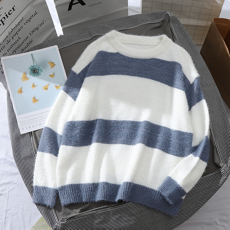 Striped Pullovers Women Sweaters Long Sleeve Blue White Color Block Loose Jumpers Female Autumn Knitwear O Neck Clothes