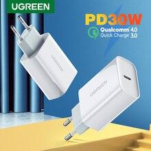شاحن UGREEN 30 وات PD لهاتف iPhone 12 X Xs 8 Macbook USB Type C شاحن سريع للهاتف QC3.0 USB C شحن سريع 4.0 3.0 شاحن QC PD