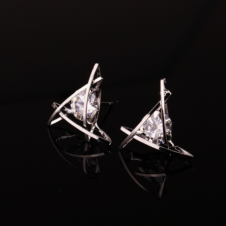 H4111329ff797482d91fbd685a556e93dk - Women's earrings Europe and the new jewelry geometric hollow square triangle zircon earrings fashion banquet jewelry