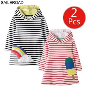 Image 3 - SAILEROAD 2pcs Girls Sweatshirts Hoodies Dress for Kids Long Sleeve Clothes Autumn Children Party Dress Cotton Kids Hooded Dress