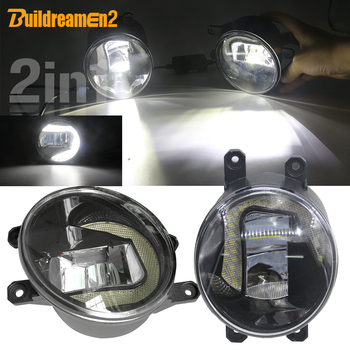 Buildreamen2 2 X Car LED Bulb Fog Light + Daytime Running Light White 12V For Toyota Estima 2000 2001 2002 2003 2004 2005 2006