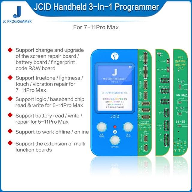 JC V1S Phone Ture Tone Repair Programmer For IPhone 7 7P 8 8P X XR XS XS MAX 11 Pro MAX Battery Fingerprint SN Reader