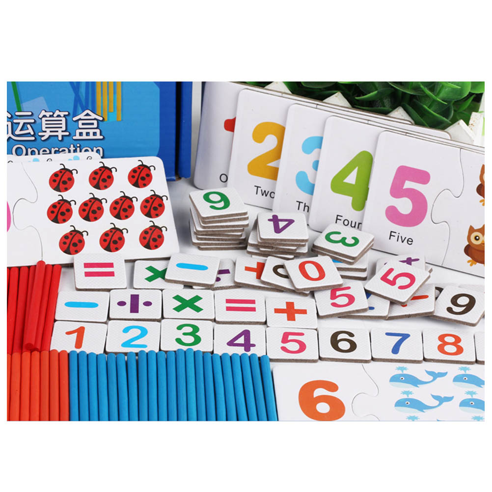 Wooden Puzzle Child Number Cards Calculation Time Learning Tool Math Educational