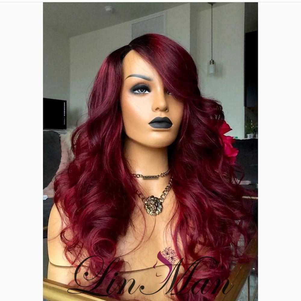 13×6  Red Color Lace Front Human Loose Wave Hair Wig  Brazilian Body Wave Hair Ombre Lace Wig For Women