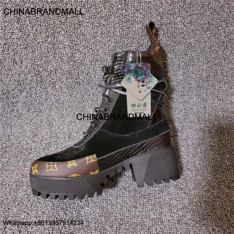 NEW Women Designer Boots Martin Desert Boot Flamingos Love Arrow Medal 100% Real Leather Coarse Size 36-42