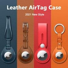 Luxuoso à prova de choque caso protetor para apple airtag couro hangable chaveiro bagagem tag saco charme loop