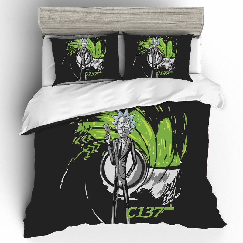 Rick And Morty Cotton Bedding Sets Duvet Cover Bed Sheets Pillowcases Bed Linen King Size Bedding Set Home Duvets And Linen Sets