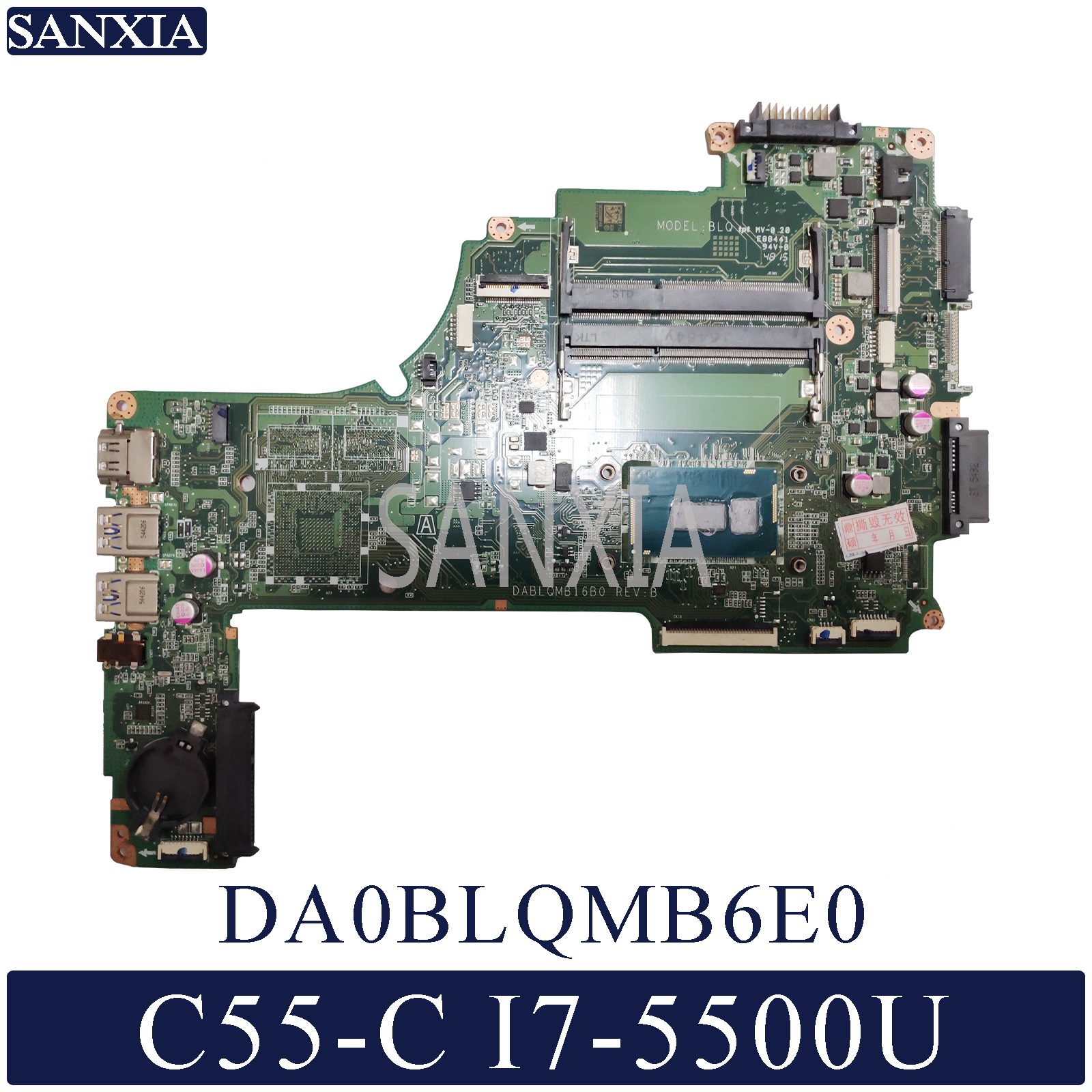 KEFU DA0BLQMB6E0 Laptop <font><b>motherboard</b></font> for <font><b>Toshiba</b></font> <font><b>Satellite</b></font> <font><b>C55</b></font>-C original mainboard I7-5500U image