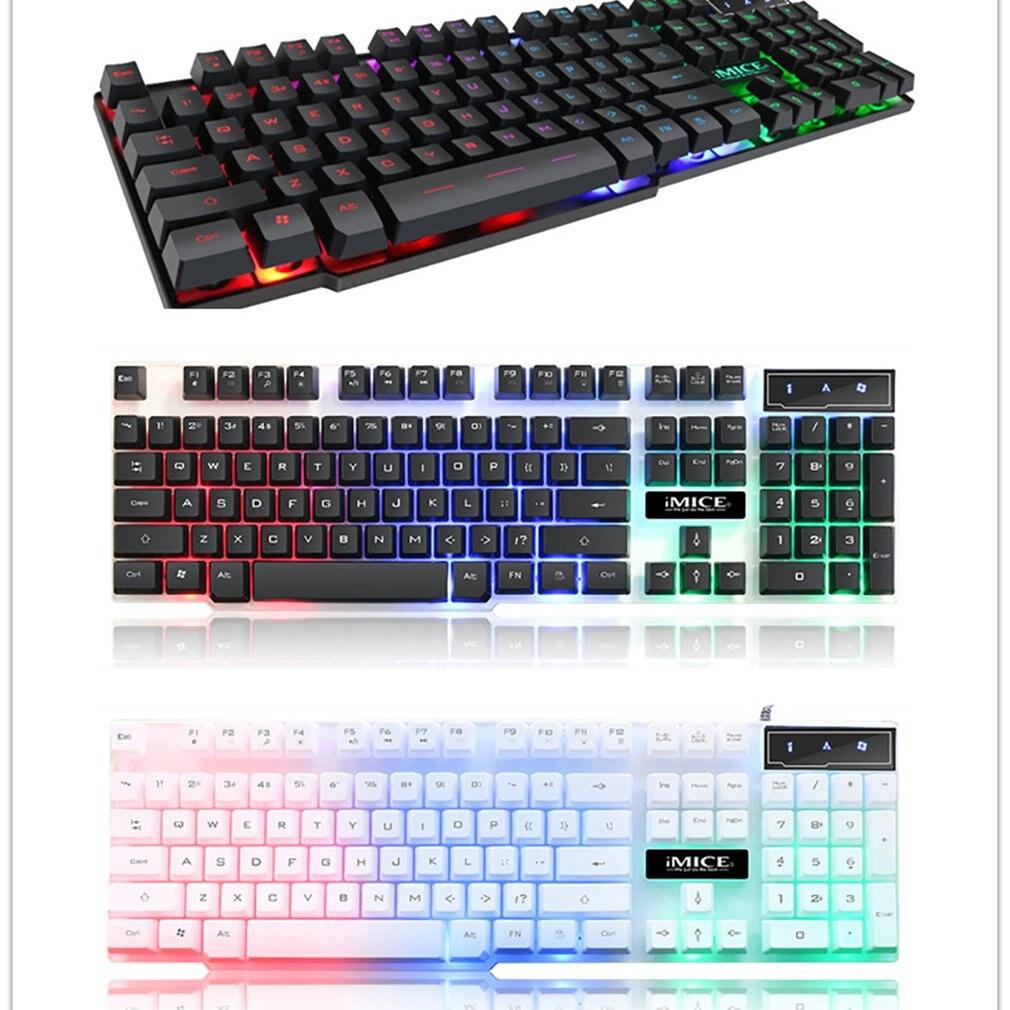 IMice Gaming Keyboard 104 Keycaps RGB Backlit Mechanical Feeling Keyboard Game Keyboards With RU Sticker For PC Laptop Computer