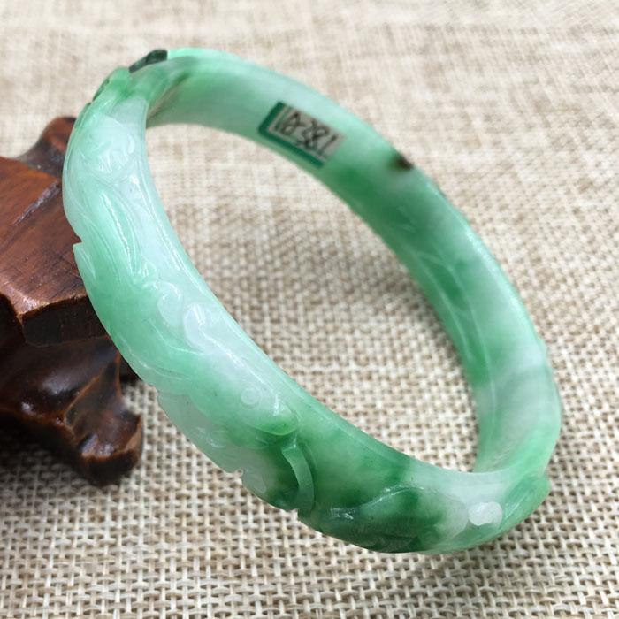 Natural Women/' Fashion Fine China Beautiful Green Gems Jade Bangle Bracelet 60mm