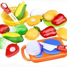12 шт./компл. детские игрушки Пластик для фруктов и овощей, Еда резка ролевые игры для раннего развития детей Детские игрушки