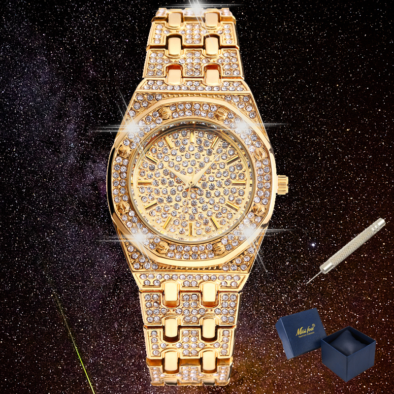Luxury Full Diamond Watch Women Hip Hop Iced Out Womens Quartz Watches Female Clock Gold Silver Steel Bracelet Reloj Mujer XFCS