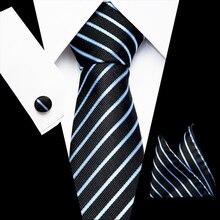 2019 Luxury Classic Neck Tie For Men Business Blue Striped 100% Silk Tie Set Fashion Design