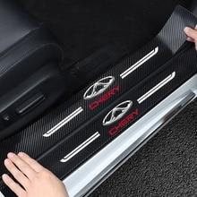 Carbon Faser Tür Sill Schutz Leder Vinyl Aufkleber Für CHERY TIGGO 34 7 PRO 8 Auto Schwelle Schutz Abziehbilder Zubehör