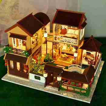 Creative DIY Dollhouse Building Model Toy Handmade Wooden House Kit DIY House With Miniature Furnitures Children Birthday Gifts