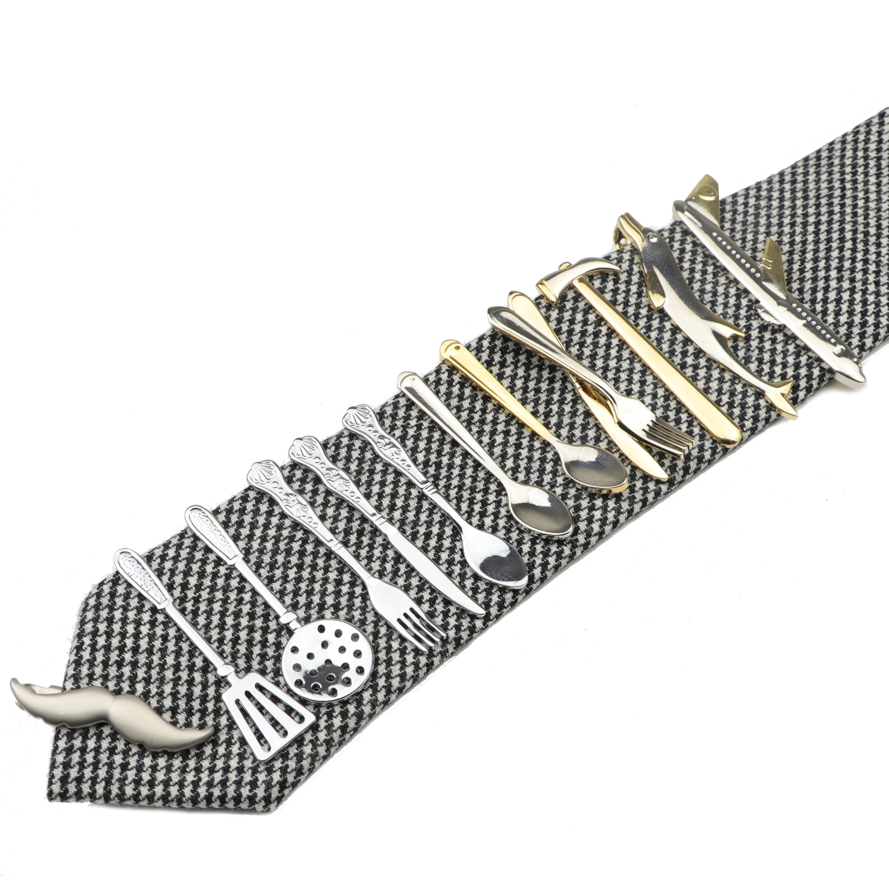 1 Piece Chrome Stainless Glasses Car Airplane Fork Spoon Shape Metal Tie Clip for Men Necktie Clips Pin For Mens Gift(China)