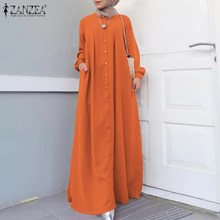Zanzea hijab muçulmano do vintage vestido outono feminino maxi vestido longo manga comprida botões vestido de verão casual roupas islâmicas caftan robe