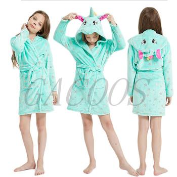 Kigurumi szlafrok dla dzieci szlafrok dla dziewczynek koszula nocna jednorożec z kapturem szlafroki dla chłopców dziewcząt ubrania koszula nocna dla dzieci bielizna nocna tanie i dobre opinie GACOOS COTTON Poliester Szaty bathrobe Pasuje prawda na wymiar weź swój normalny rozmiar Flanelowe Unisex Zwierząt robe children