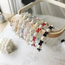 Korean chic women hairbands fashion crystal pearl flower hai