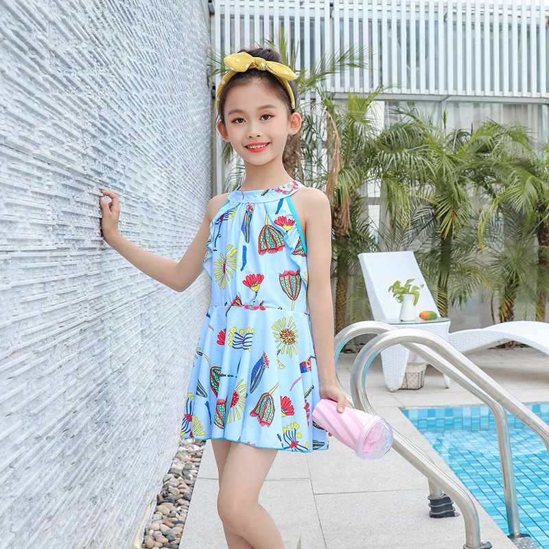 KID'S Swimwear Girls Big Boy One-piece Outdoor Cartoon Bathing Suit GIRL'S Skirt Sun-resistant Swimwear