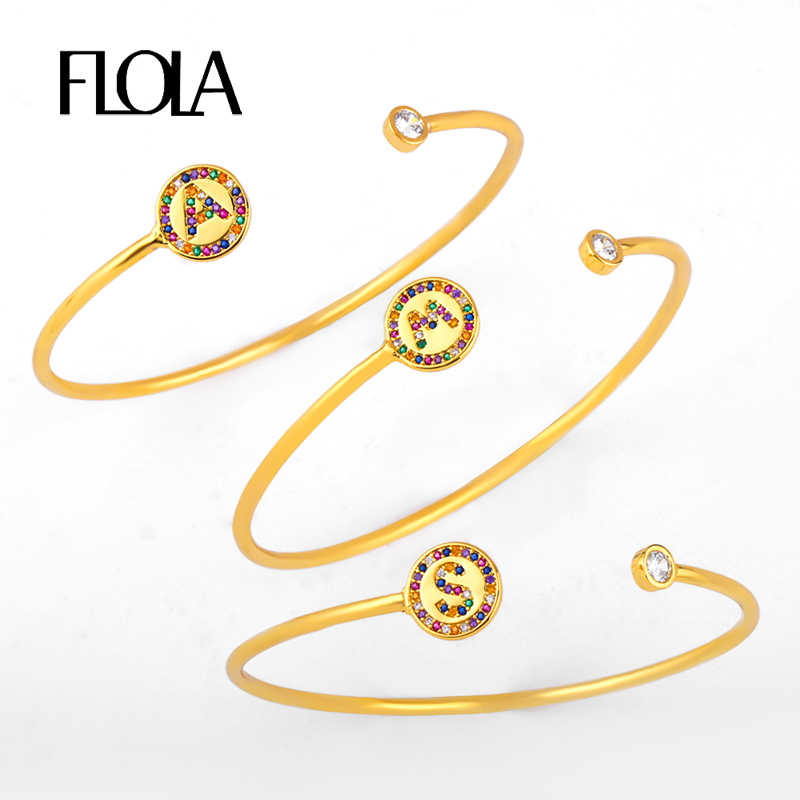 FLOLA Gold Letter Open Bangle Bracelet for Woman CZ Rainbow Initial Letter Bracelet Rainbow Jewelry Personalized Bracelet brtb79