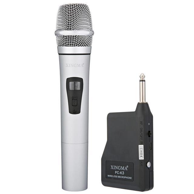 VHF ميكروفون لاسلكي محمول باليد ، سبائك الألومنيوم ، للكاريوكي ، الكمبيوتر ، الغناء ، KTV مع جهاز الاستقبال