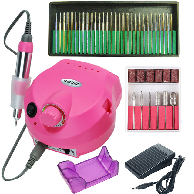 35000/20000 RPM Electric Nail Drill Machine Set Mill Cutter Bits for Manicure Pedicure Gel Cuticle Rotary File Strong Apparatus