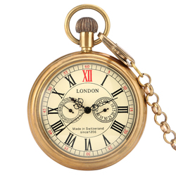 Luxury Brass Copper Automatic Mechanical Pocket Watch Antique Pendant Pocket Clock High Grade Gifts for Men