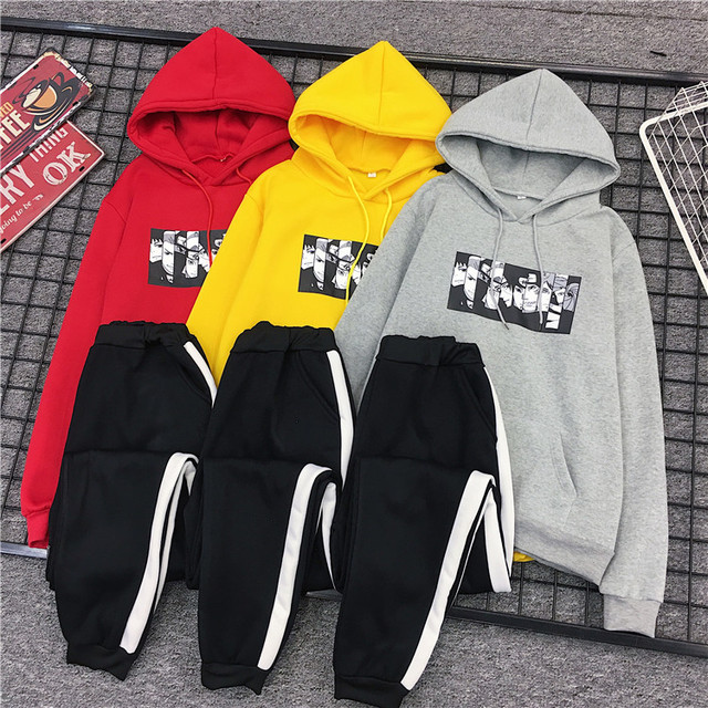 2020 Autumn Fashion 2 Piece Set Women Hoodie Sweatshirt Printed Anime Two Piece Suit Female Hoody+Long Pants Tracksuits Outfits