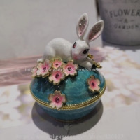 2020 New Desgins Bunny Rabbit Laying in Flowers Trinket Box White Rabbit Jeweled Keepsake Box