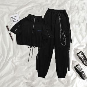 HOUZHOU женские штаны карго Харадзюку брюки с цепочкой женские модные панковские брюки хип-хоп черные готические брюки уличная одежда готика г...