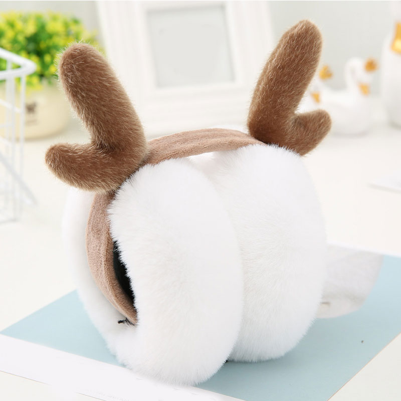 Fashion Antlers Folding Earmuffs Winter Ear Warmer Ladies Soft Plush Fluffy Ear Cover Funny Girls Christmas Earmuffs Pink Gray