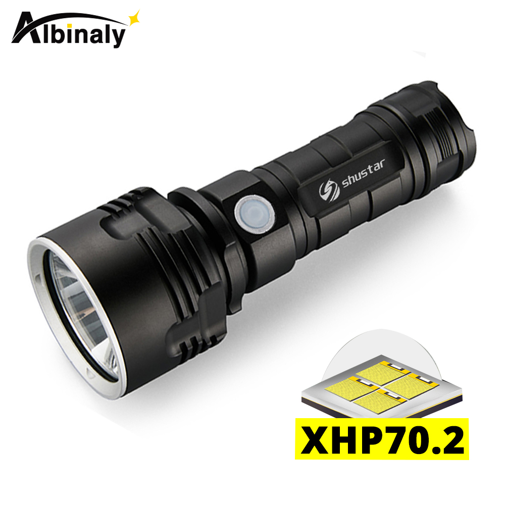 Ultra Bright LED Flashlight With XHP70.2 Lamp Bead 3 Lighting Modes Waterproof Camping Huting Light Powered By 26650 Battery