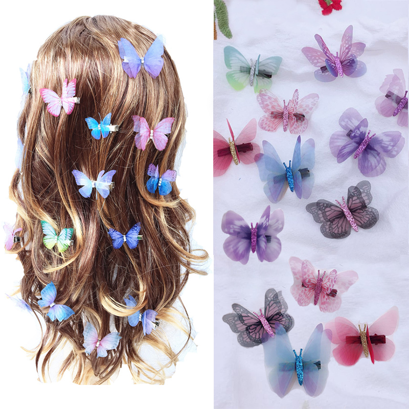 Korean Super Fairy Double Stereo Simulation Color Tulle Butterfly Hairpin Clip Duckbill Clip Girl Head Jewelry Hair Accessories