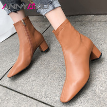 цена на ANNYMOLI Natural Genuine Leather Ankle Boots Women High Heel Boots Thick Heel Shoes Square Toe Short Boots Zip Lady Footwear 40