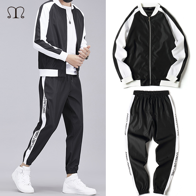 Men Tracksuit Patchwork Spring 2020 4XLHip Hop Sweatshirt Jacket+Pants Male Sporting Suit Casual Streetwear Sportswear Mens Set